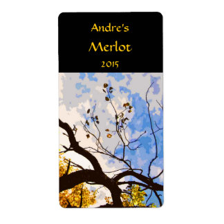 Autumn Branches Abstract Wine Label