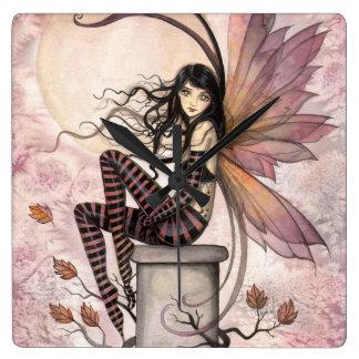 Autumn Breezes Fairy Fantasy Art by Molly Harrison Square Wall Clocks