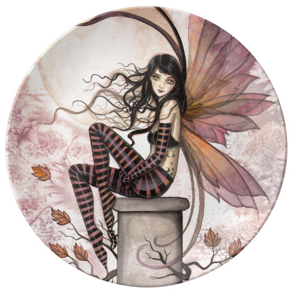Autumn Breezes Fairy Fantasy Art Porcelain Plate