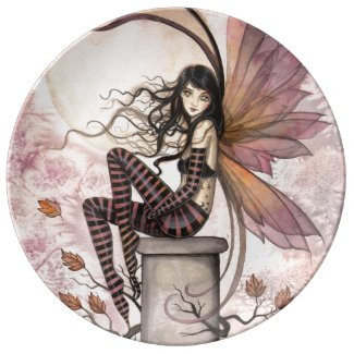 Autumn Breezes Fairy Fantasy Art Porcelain Plate
