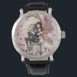 """Autumn Breezes Fairy Fantasy Art Wrist Watch<br><div class=""""desc"""">&quot;Autumn Breezes&quot; &#169; Molly Harrison 2013 www.mollyharrisonart.com</div>"""