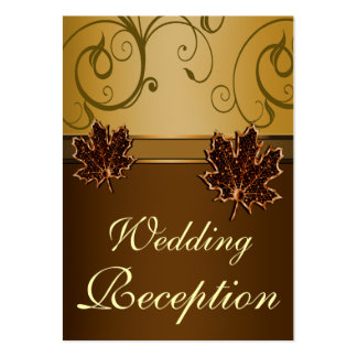 Autumn Brown & Fall Gold Wedding Reception Cards