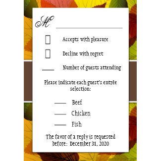 Autumn Brown Falling Leaves Wedding RSVP Cards zazzle_invitation
