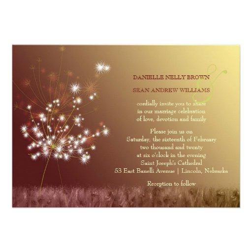gold dandelion floral wedding invite 5 x 7 invitation card