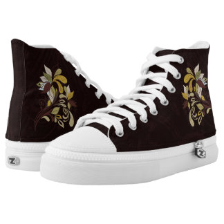 Autumn Brown with Bold Leafy Accents High-Top Sneakers