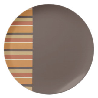 Autumn Brown with Striped Pumpkin Spice Colors Melamine Plate