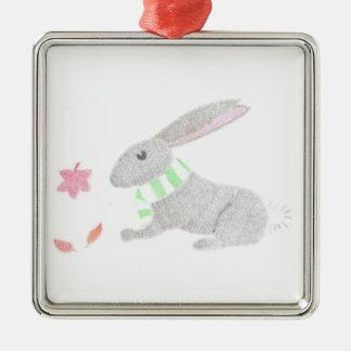 Autumn Bunny Metal Ornament