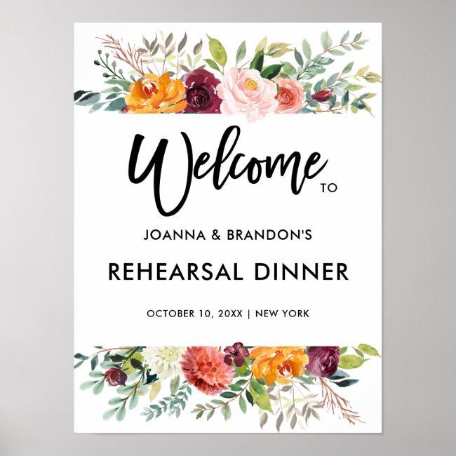 Autumn Burgundy Blush Floral Rehearsal Dinner Poster