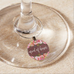 Autumn Burgundy Watercolor Floral Maid of Honor Wine Glass Charm