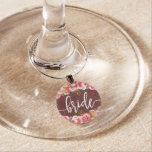 Autumn Burgundy Watercolor Floral Wedding Bride Wine Glass Charm