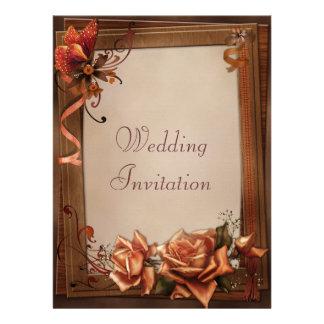 Autumn Butterfly Roses Frame Linen Wedding Custom Invites