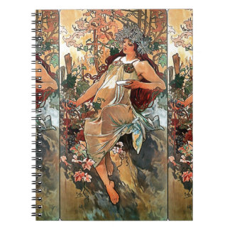 Autumn by Alfons Mucha 1896 Spiral Note Books