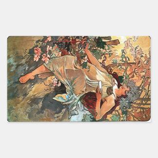 Autumn by Alfons Mucha 1896 Rectangular Sticker