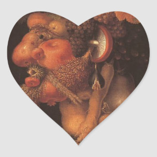 Autumn by Giuseppe Arcimboldo Heart Sticker