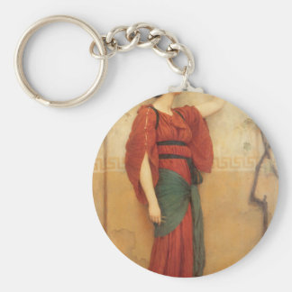 Autumn by John William Godward Basic Round Button Keychain