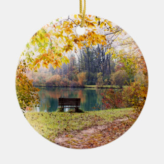 Autumn by the Park Pond - Fall Leaves Ceramic Ornament
