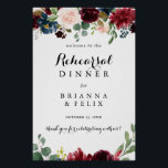 """Autumn Calligraphy Rehearsal Dinner Welcome Sign<br><div class=""""desc"""">This autumn calligraphy rehearsal dinner welcome sign is perfect for a rustic wedding rehearsal. The design features burgundy,  red,  navy,  blue and blush radiant and graceful hand-painted flowers,  inspiring natural beauty.</div>"""
