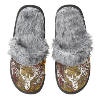 Autumn Camouflage Deer Head Customizable Slippers Pair Of Fuzzy Slippers