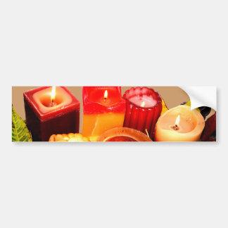 Autumn Candle and Leaf Arrangement Bumper Stickers