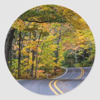 Autumn Canopy Of Color Along Highway 41 Classic Round Sticker