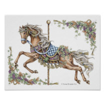Autumn Carousel Horse Pen and Ink Drawing Poster