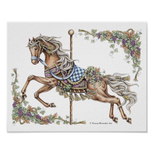 Autumn Carousel Horse Pen And Ink Drawing Poster Zazzle Com
