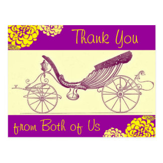 Autumn Carriage and Mums Thank You Postcards