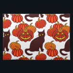 """Autumn cat cloth placemat<br><div class=""""desc"""">This cute Halloween pattern will bring a joy and good mood to everyone</div>"""