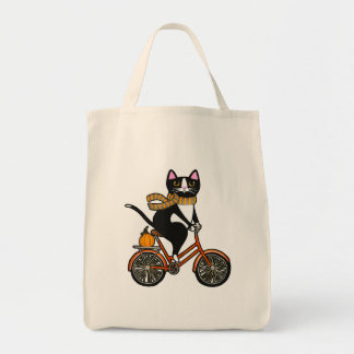Autumn Cat on a Bicycle Tote Bag