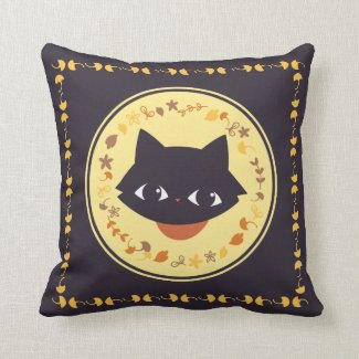 Autumn cat pillow