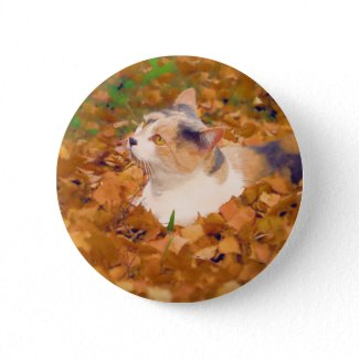 autumn cat pin button
