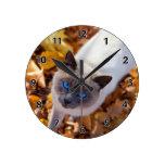 Autumn Cat Round Wall Clock