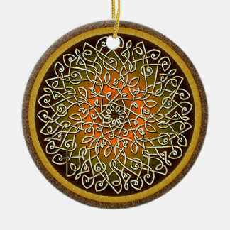 Autumn Celtic Art Burst Double-Sided Ceramic Round Christmas Ornament