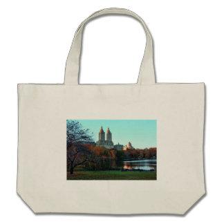 Autumn: Central Park Lake, San Remo Canvas Bags