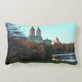 Autumn: Central Park Lake, San Remo Lumbar Pillow