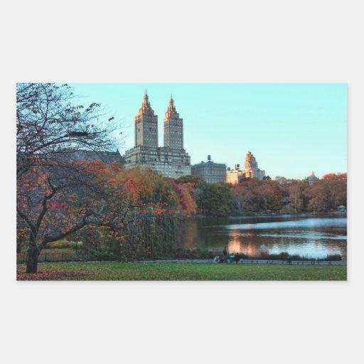 Autumn: Central Park Lake, San Remo Rectangular Sticker