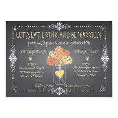 Autumn Chalkboard Wedding Rehearsal Mason Jar Card at Zazzle