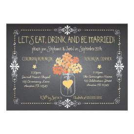 Autumn Chalkboard Wedding Rehearsal Mason Jar Cards