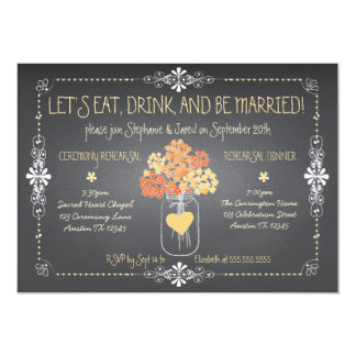 Autumn Chalkboard Wedding Rehearsal Mason Jar Invitation