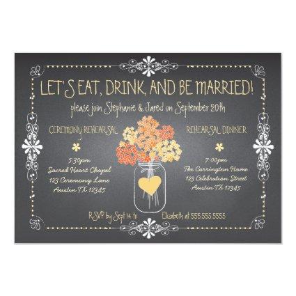 Autumn Chalkboard Wedding Rehearsal Mason Jar 5x7 Paper Invitation Card