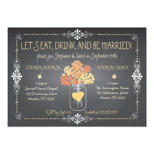 Autumn Chalkboard Wedding Rehearsal Mason Jar Invitation