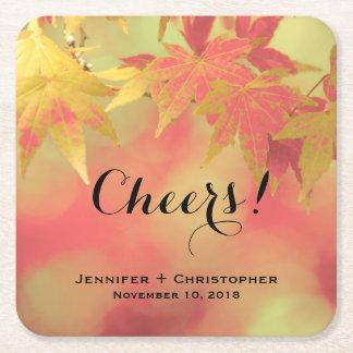Autumn Cheers Golden Red Maple Wedding Engagement Square Paper Coaster