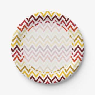 Autumn Chevron Pattern Paper Plate
