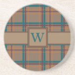 Autumn Chic Plaid Sandstone Coaster