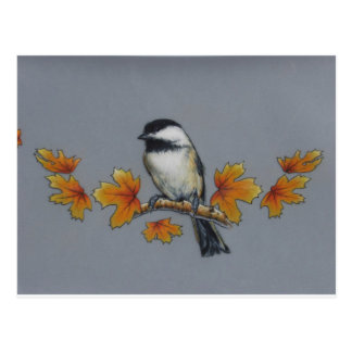 Autumn Chickadee Postcard