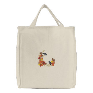 Autumn Chickadees Embroidered Bags