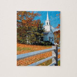 Autumn Church In Splendor New England Jigsaw Puzzle