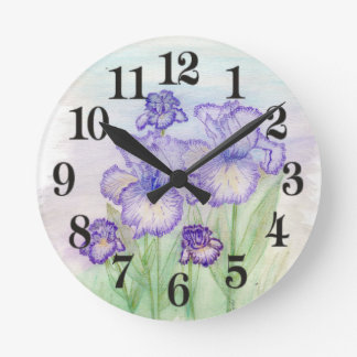 Autumn Circus and Art Deco Iris' Round Clock