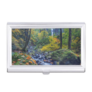 Autumn Color Along Starvation Creek Falls 2 Business Card Cases