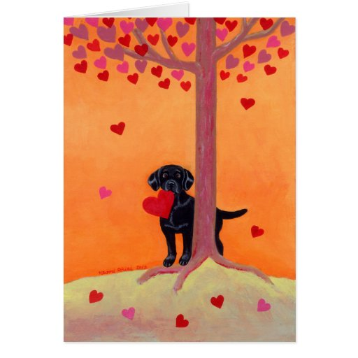 Autumn Color Black Labrador Card